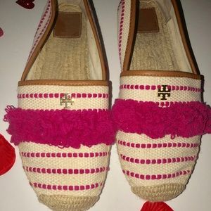 Pink Tory Burch Canvas Slip On Shoes